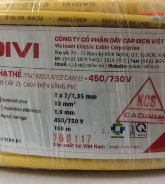 DÂY ĐIỆN CADIVI CV 10.0-0,6/1KV