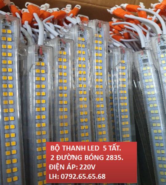 BỘ THANH LED 5 TẤT 2835 2 ĐƯỜNG BÓNG 220V AS TRẮNG - VÀNG